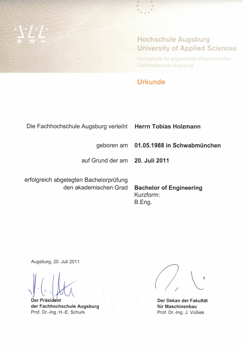 Certificate of Bachelor of Engineering