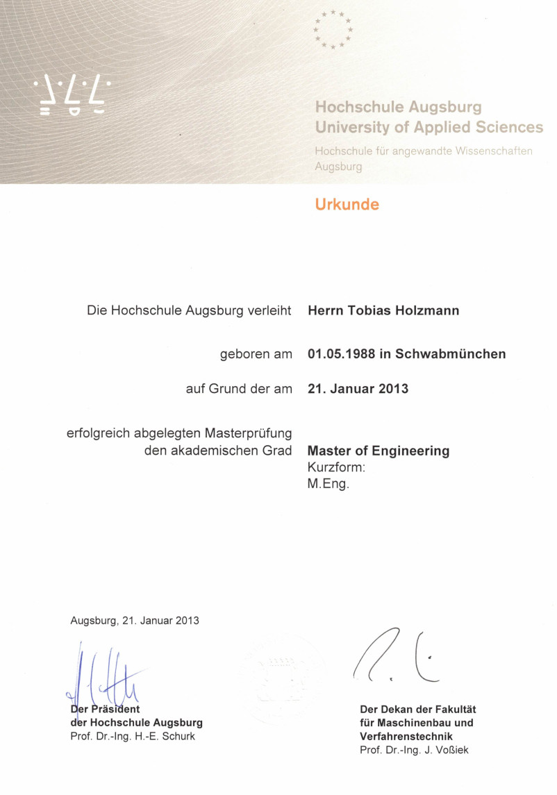Certificate of Master of Engineering